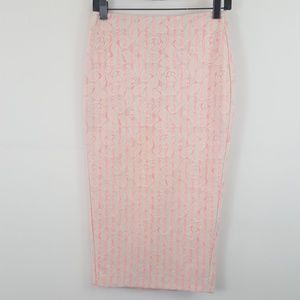 Asos pink/white striped lace pencil skirt size 4